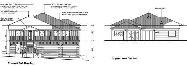 Queenslander renovation - Front and rear elevations