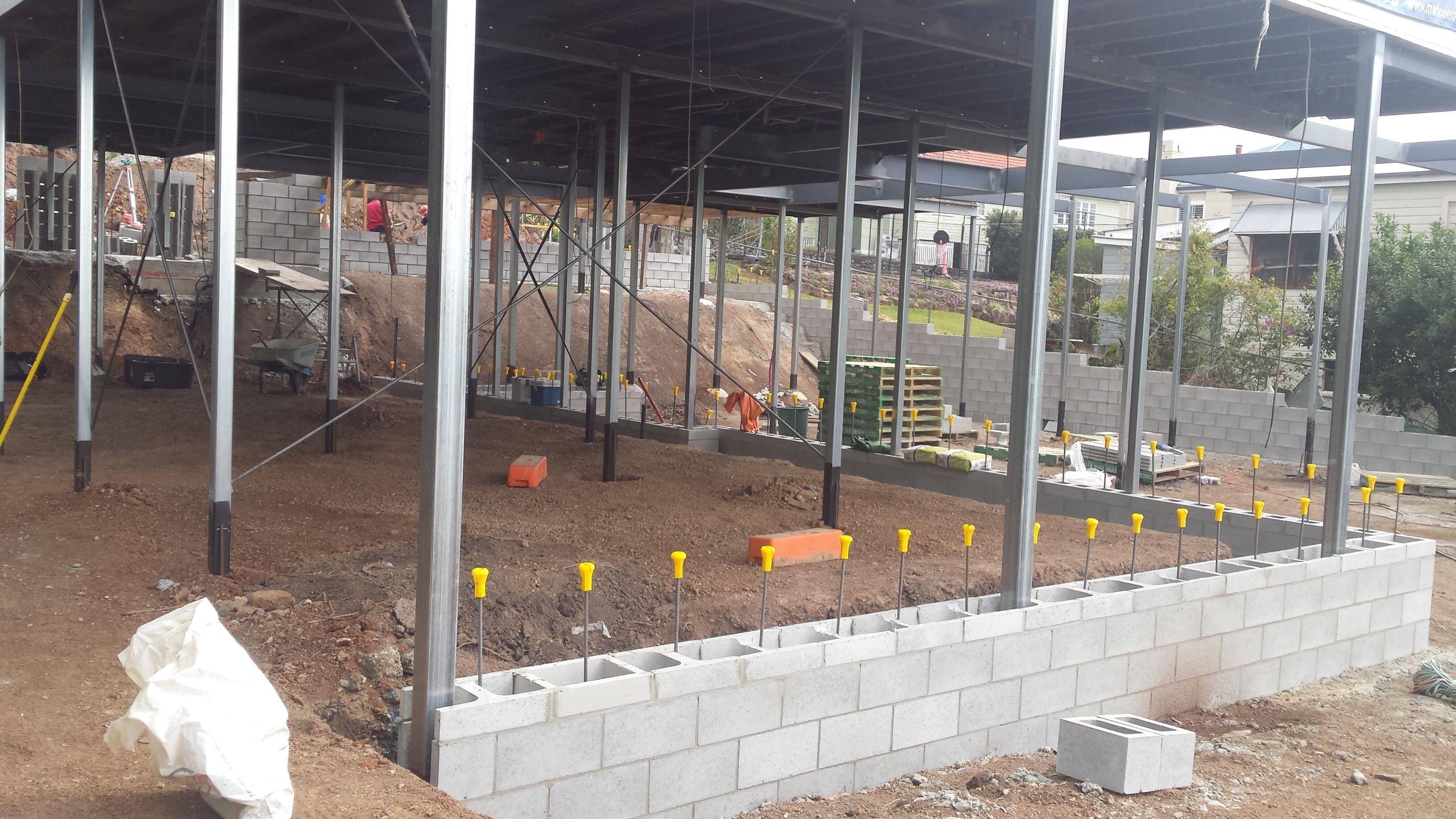 Queenslander renovation lower level retaining