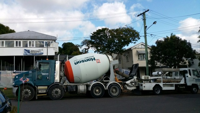 Cement truck ready to pour concrete for our house foundations