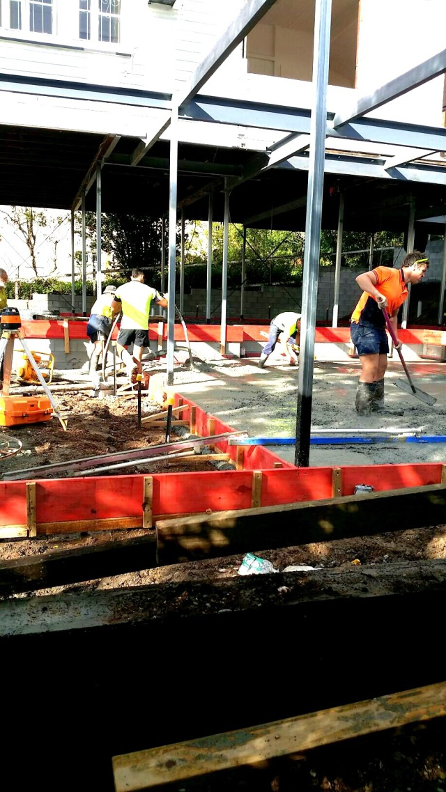 Concrete going in for the foundations of our Queenslander renovation