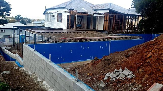 Waterproofed retaining walls Queenslander renovation