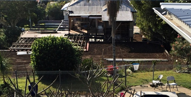 Bird's eye view of the flat backyard! Queenslander renovation