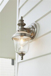 Think we'll need a lot of these lovely brushed nickel outdoor lights - so pretty!