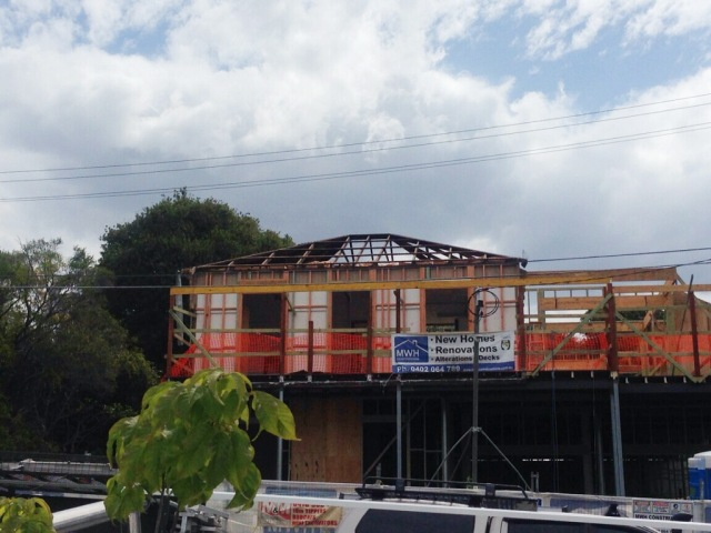 The old roof trusses, exposed after the sheeting was ripped off - Queenslander renovation