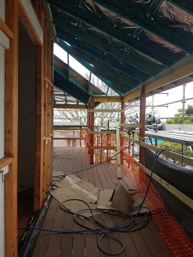 Queenslander front verandah with new roof in place