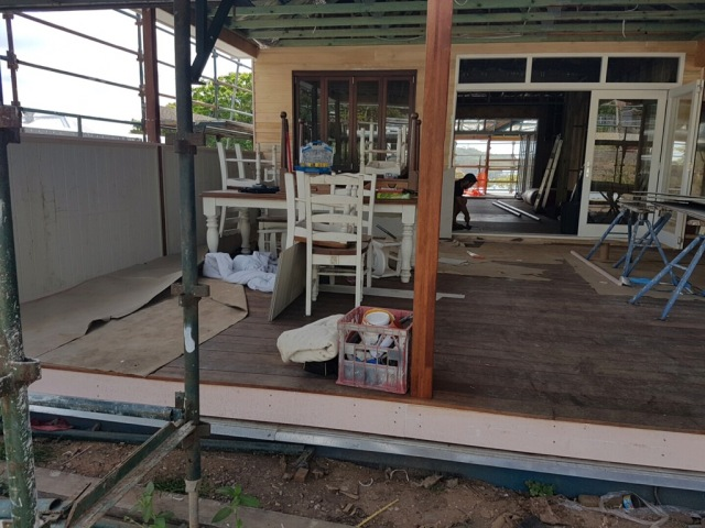 Poor photo, but am loving the VJ boards that have now gone up to line the section of deck where the BBQ, fridge and outdoor bench-top will go!