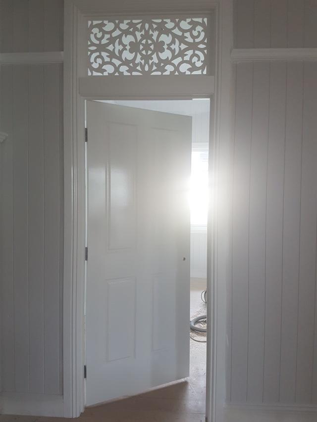 Queenslander bedroom door details! The next coat of paint will neaten up the messy edges.