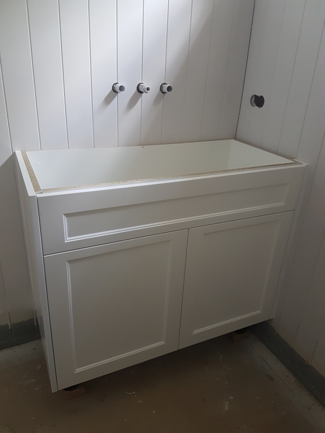 Small downstairs bathroom vanity insitu!