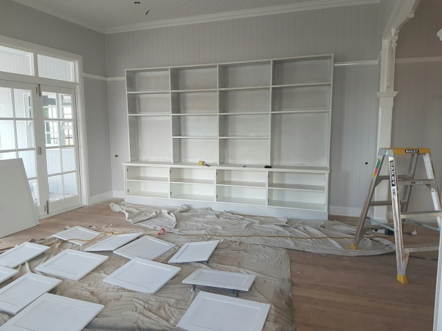 Queenslander built-in book shelves - cupboard doors are being painted and should be back on this coming week.